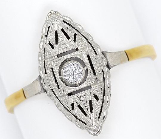 Foto 2, Art-Deco Ring Schiffchenform 0,05ct Diamant Gold Platin, S4791
