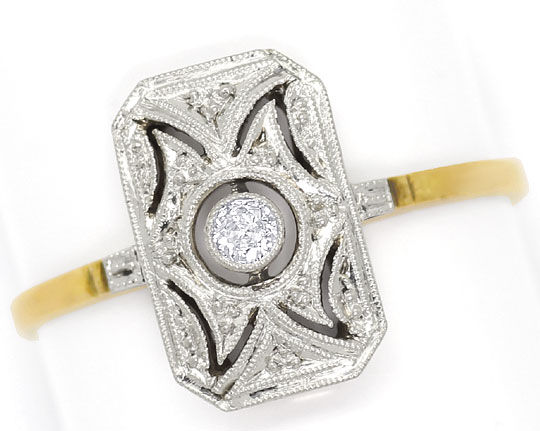 Foto 2, Antiker Super Art-Deco Diamant-Ring 14K Gold und Platin, S4792