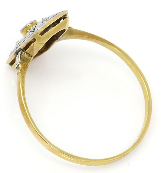 Foto 3, Antiker Super Art Deco Diamant Ring 14K Gold und Platin, S4792