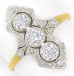 Foto 1, Alter Art Deco Diamanten Ring 0,88Carat Platin und Gold, S4815