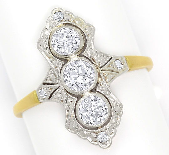 Foto 2, Alter Art Deco Diamanten Ring 0,88Carat Platin und Gold, S4815