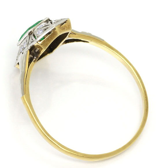 Foto 3, Alter Art Deco Ring Super Smaragd Diamanten Gold Platin, S4816