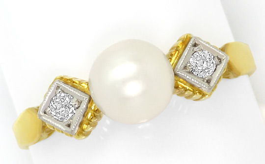 Foto 2, Original alter Diamant-Ring 0,08ct Zuchtperle, 14K Gold, S4820
