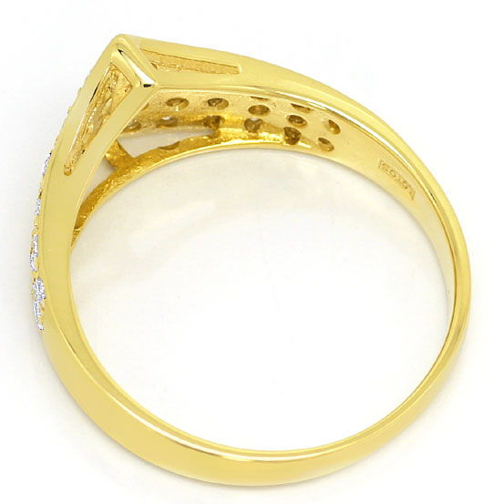 Foto 3, Dekorativer Gelbgold-Ring 0,48ct River Brillianten, 14K, S4854
