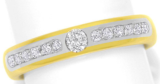 Foto 2 - Brillianten Ring 0,28ct River Lupenrein Platin Gelbgold, S4870