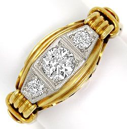 Foto 1, Alter Handarbeits Diamanten Ring 0,44ct Gelbgold Platin, S4882