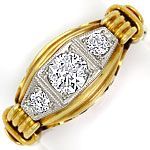 Alter Handarbeits Diamanten Ring 0,44ct Gelbgold Platin