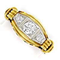 zum Artikel Alter Handarbeits Diamanten Ring 0,44ct Gelbgold Platin, S4882