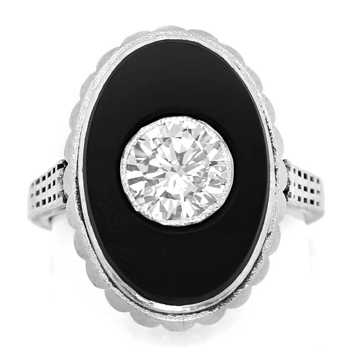 antiker Art Deco Diamant Onyx Ring 1,06 Carat Lupenrein, Designer Ring