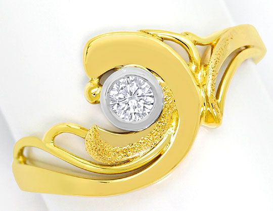 Foto 2 - Designer Diamantring 0,12ct River Brillant Bicolor Gold, S4910