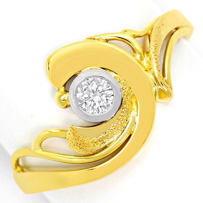 Designer Diamantring 0,12ct River Brillant Bicolor Gold, Designer Ring