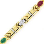 Multicolor Rubin Safir Smaragd Brillantenarmband in 18K