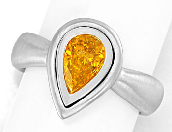 Foto 1, Diamantring Tropfen Fancy Intense Orange Yellow HRD 18K, S4958
