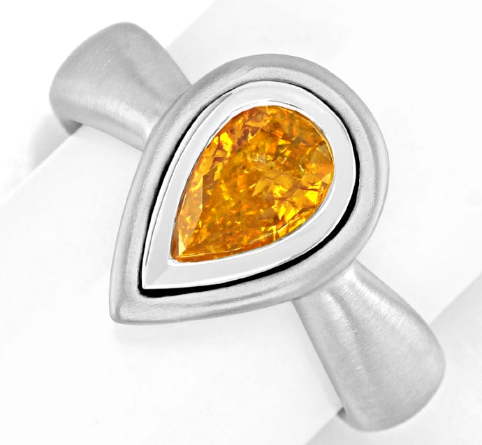 Foto 2, Diamantring Tropfen Fancy Intense Orange Yellow HRD 18K, S4958