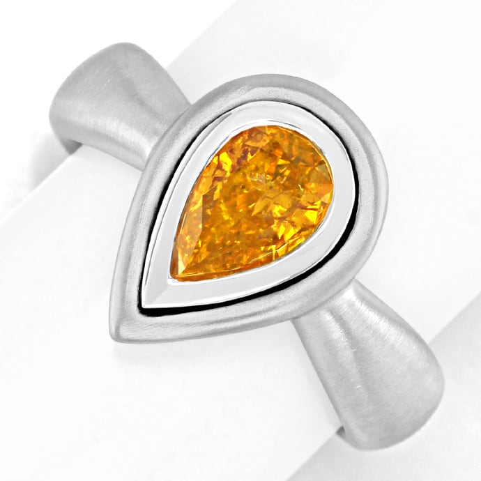 Diamantring Tropfen Fancy Intense Orange Yellow HRD 18K, Designer Ring