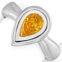 zum Artikel Diamantring Tropfen Fancy Intense Orange Yellow HRD 18K, S4958