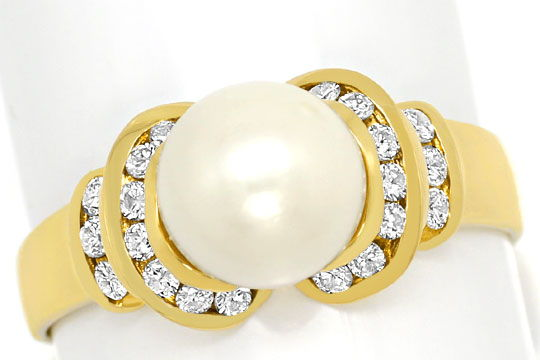 Foto 2, Gelbgold Ring 0,28ct Brillianten 7,6mm Akoya Perle, 18K, S4974