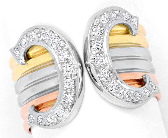 Original Cartier Doppel C Brilliant Ring Gelb Rot Weiss S5187