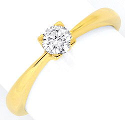Foto 1, Brillant Diamant Solitär Ring Gelbgold 0,27ct Tw SI Neu, S5348