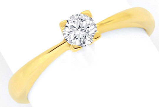 Foto 2, Brillant Diamant Solitär Ring Gelbgold 0,27ct Tw SI Neu, S5348