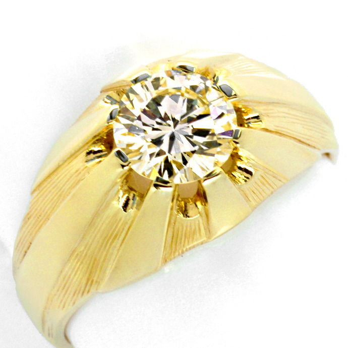 Brilliant Herren Ring 1,50 Carat VVS Solitaer Gelb Gold, Designer Ring