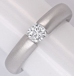 Foto 1, Brillant Diamant Spann Ring 0,40 ct River 18K Weissgold, S5847