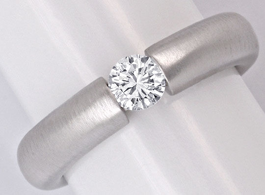 Foto 2, Brillant-Diamant-Spann-Ring 0,40 ct River 18K Weissgold, S5847