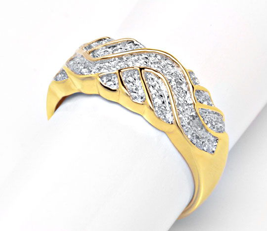 Foto 4 - Brillant Band Ring 18Karat Gelbgold Bicolor Luxus! Neu!, S6022