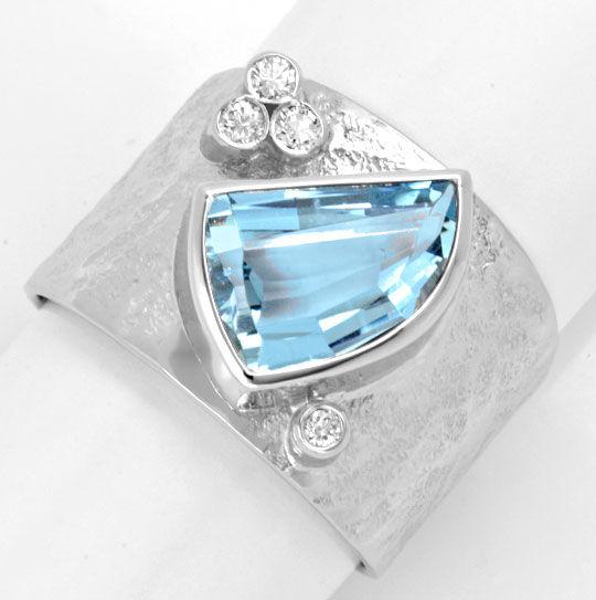 Diamant Aquamarin Ring Handarbeit 18K Weiss Luxus! Neu!, S6034