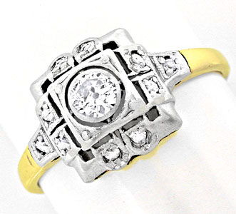Foto 1, Original antiker Diamantring 14K/585 Top Erhaltung Shop, S6036
