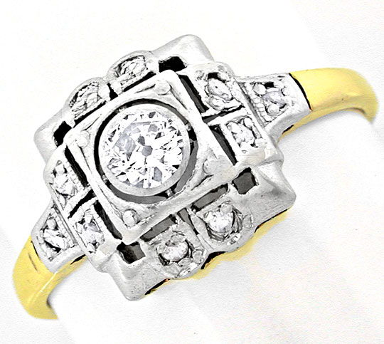 Foto 2, Original antiker Diamantring 14K/585 Top Erhaltung Shop, S6036