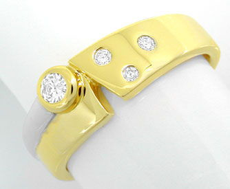 Foto 1, Super-Moderner! Brillant-Ring Bicolor 14K/585 Shop Neu!, S6055