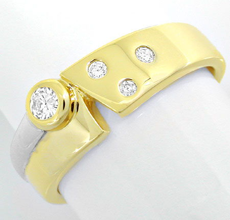 Foto 2, Super-Moderner! Brillant-Ring Bicolor 14K/585 Shop Neu!, S6055