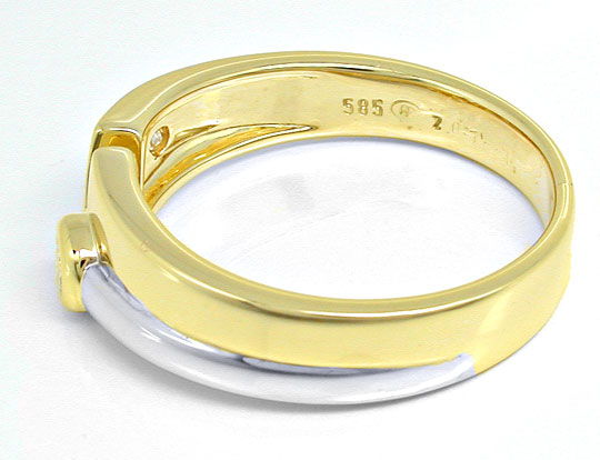 Foto 3, Super-Moderner! Brillant-Ring Bicolor 14K/585 Shop Neu!, S6055