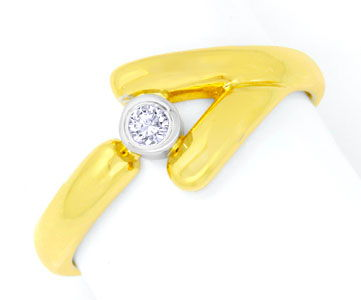 Foto 1, Designer Brillant Diamant Goldring 18K Bicolor Shop Neu, S6065