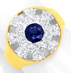 Foto 1, Brillantring 1,6ct Diamanten, Safir / Saphir Luxus! Neu, S6105