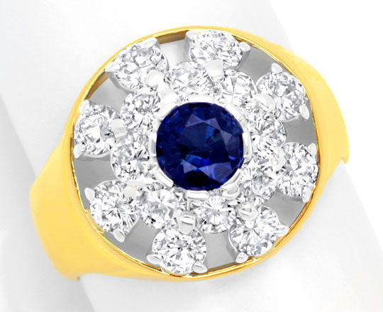 Foto 2, Brillantring 1,6ct Diamanten, Safir / Saphir Luxus! Neu, S6105