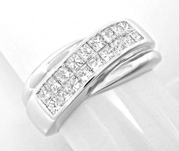 Foto 1, Ring Princess-Diamanten Invisible! Weissgold Luxus! Neu, S6122
