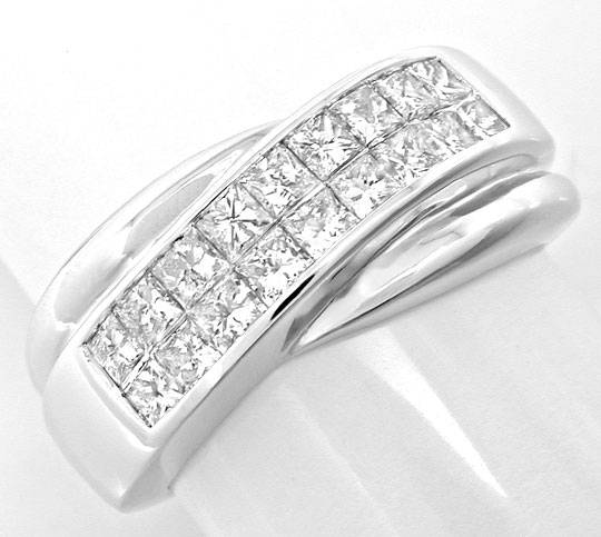 Foto 2, Ring Princess-Diamanten Invisible! Weissgold Luxus! Neu, S6122
