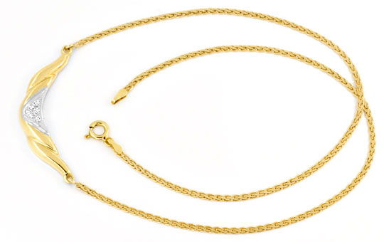 Foto 1, Brillant-Diamantkollier Collier 18K Gelbgold Luxus! Neu, S6141