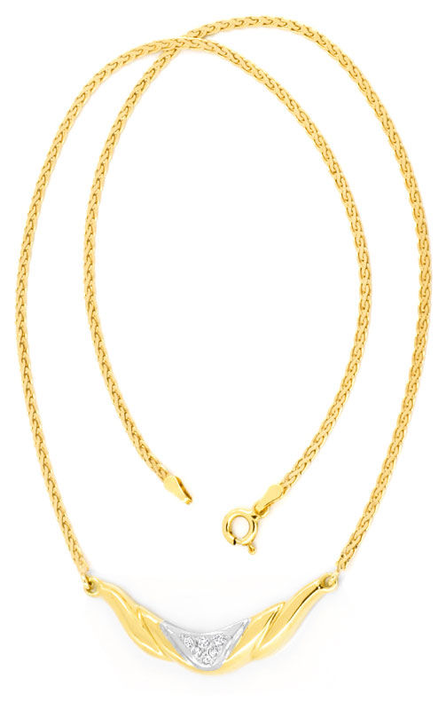 Foto 3, Brillant-Diamantkollier Collier 18K Gelbgold Luxus! Neu, S6141
