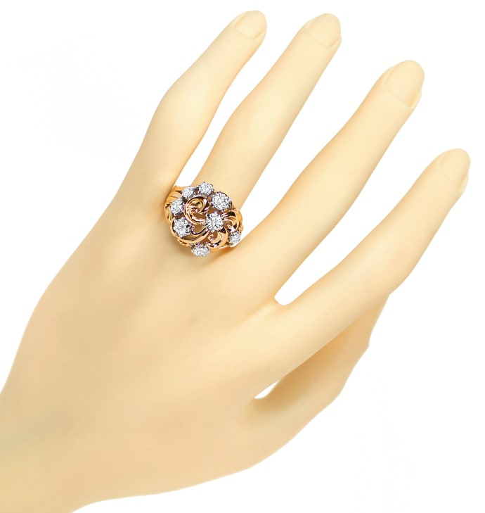 Foto 4, Antiker Ring 2,29ct Diamanten Handarbeit Rotgold, S6158