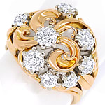Antiker Ring 2,29ct Diamanten Handarbeit Rotgold