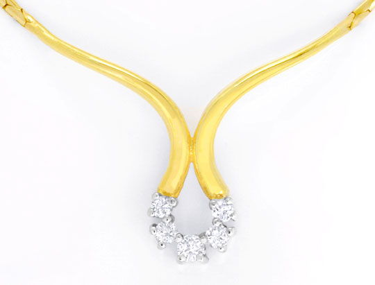 Foto 2 - Brillantkollier Gelbgold 5 Diamanten 0,17ct Luxus! Neu!, S6170