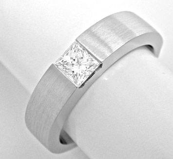 Foto 1 - Princess Diamant Solitär Ring Weissgold 18K Luxus! Neu!, S6195
