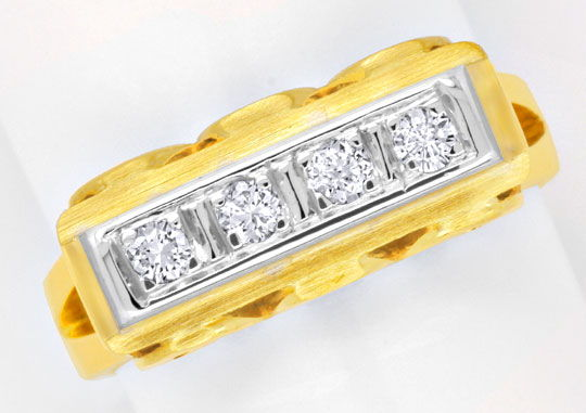 Foto 2, GOLDRING MIT DIAMANTEN BRILLANTEN HANDARBEIT 14K LUXUS!, S6198