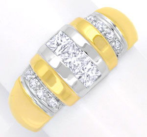 Foto 1, Diamantring, Grosse Princess-Diamanten, 18K Luxus! Neu!, S6211