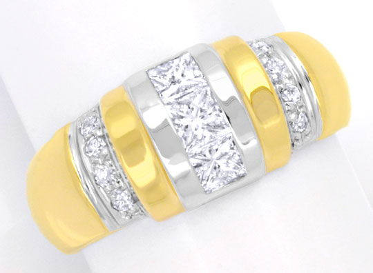 Foto 2, Diamantring, Grosse Princess Diamanten, 18K Luxus! Neu!, S6211