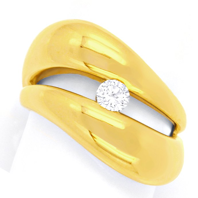 Super Design Brillantring Gelbgold, 0,25ct River Luxus!, Designer Ring