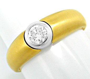 Foto 1, Brillant Solitär Band Ring River Bicolor 18K Luxus! Neu, S6297